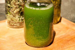 The sassy vodka starts out a vivid green.
